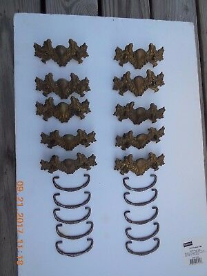 10 VINTAGE Antique Brass Drawer Pulls Handles Ornate Victorian Hardware Furn.
