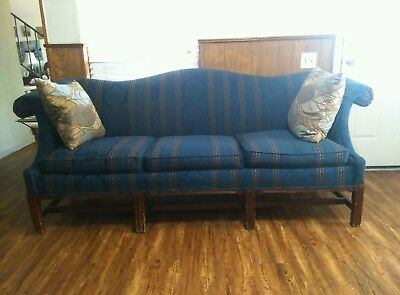 38895:Fairfield Chippendale Style Camel Back Blue Striped Sofa