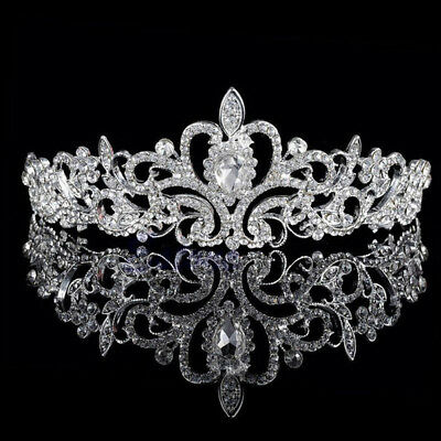Bridal Princess Rhinestone Pearl Crystal Hair Tiara Wedding Crown Headband #rr