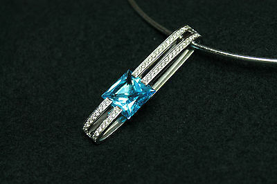 18Ct White Gold Necklace With Diamonds & Blue Topaz & Chain / Rrp~5650€