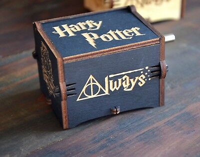 Wooden Music Box Engraved Harry Potter Hedwig's Theme Letter Hogwarts Black