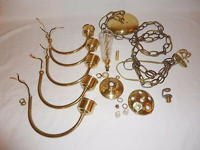 Vintage 5 Arm Brass and Glass Petite Colonial Chandelier Parts