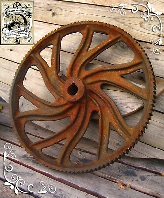 Antique 1880 Rare Industrial Machinery Cast Iron Gear Cog Original Steampunk!