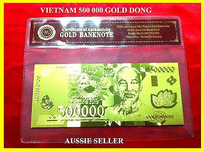 Vietnam Gold 500000 Dong Dollars Banknote Rare 3D Unc 24Kt Gold  Note