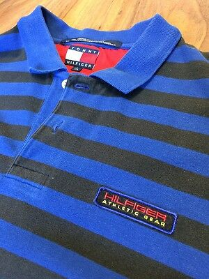 Vintage Tommy Hilfiger Athletic Gear Striped Polo Size Large Blue Sailing Rare
