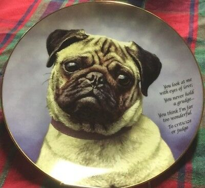 "DANBURY MINT (Limited Edition Devoted Pugs) Plate #A 6005 w/ poem ""Eyes of Love"""
