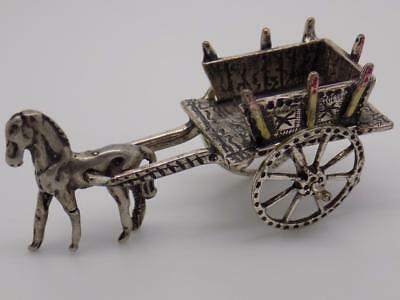Vintage Solid Silver Traditional Sicilian Carriage Miniature / Figurine - Stamp*
