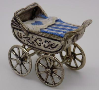 Vintage Solid Silver Pram Miniature / Figurine - Stamped - Made in Italy