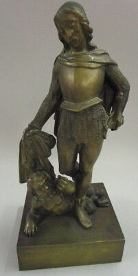 Antique KNIGHT SLAYING SATYR late victorian era bronze statue figurine