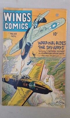 WINGS COMICS No 63 -  1945 - Great Cover Cool Stories!