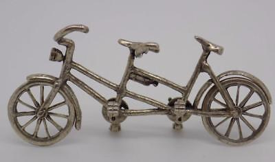 Vintage Solid Silver Tandem Miniature / Figurine - Stamped - Made in Italy
