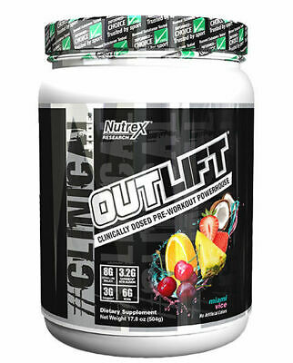 Nutrex Outlift Pre-Workout Powerhouse BCAA 10 or 20 Servings Variety Flavors
