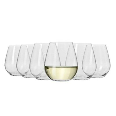 New Krosno Flair Stemless White Wine Glass 420ml Set Of 6 Gift Boxed