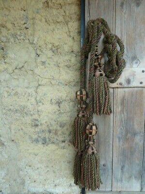 SHABBY CHIC ANTIQUE FRENCH CHATEAU CURTAIN TIE BACKS, Wool Ropes & Silk Tassles