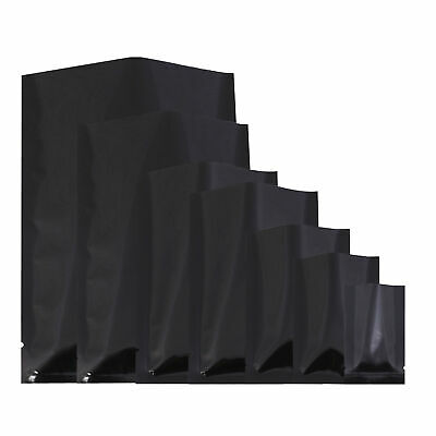Flat Glossy Black Foil Open Top Mylar Bags Sample Pouches Variety Quantity Sizes