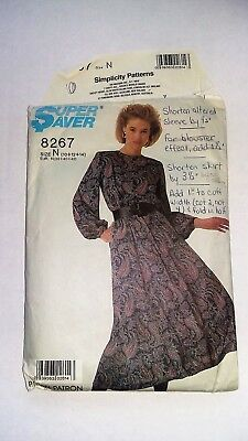 1980's Vintage Simplicity 8267 Sewing Pattern, Easy Sew Dress-Cut to Size 10