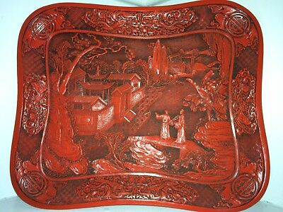 Antique Chinese Tray Possibly Cinnabar Lacquer