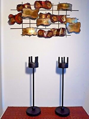 Pair of Tall Brutalist Candlesticks Mid Century Modernist Heavy Taper Candle VTG