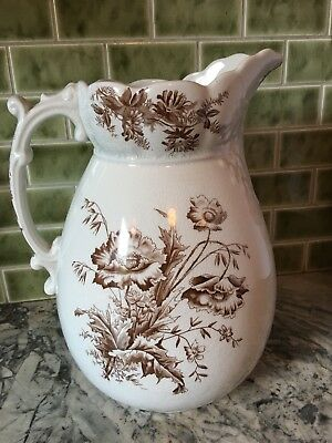 Victorian (Pre-1896) Large Brown and White Transferware Pitcher/Jug England