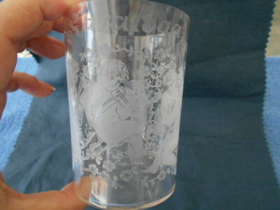 Rare 1898 Antique Pre Pro Beer Glass Victorian etched Saratoga Cherubs Lizzie