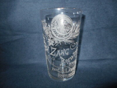 Rare Antique Pre Pro Beer Glass etched Zang Brewing Denver CO Lammers Bottling
