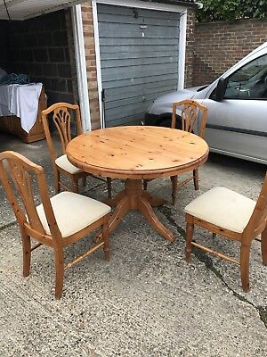 Solid Antique Pine Table And 6 Chairs PicClick UK