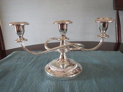Silverplate Made in England Triple Candle Candelabra Marked