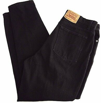 VINTAGE LEVIS 522 womens mom black jeans 18 M MADE in USA high waist 36x32 taper