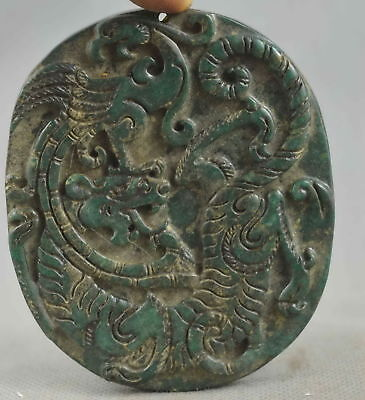 China Collectable Handwork Old Jade Carving Might Dragon & Phoenix Lucky Pendant
