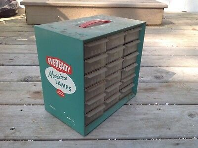 Vintage Eveready 18 Drawer Miniature Flash Light Lamps Display Cabinet, Auto