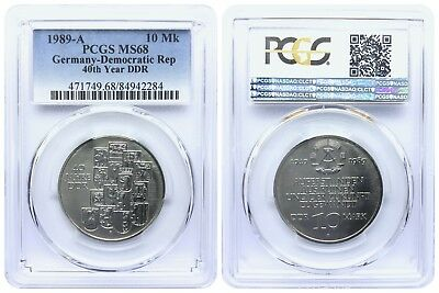 10 MARK 1989 40th YEAR DDR DEMOCRATIC REPUBLIC EAST GERMANY PCGS MS68 TOP POP 6