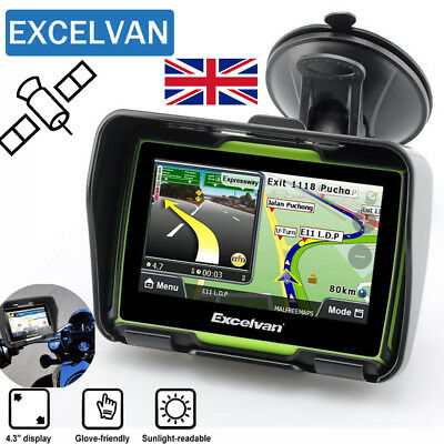 "4.3"" Bluetooth Touch Motorcycle Bike Motorbike GPS SAT NAV Navigation System 8GB"
