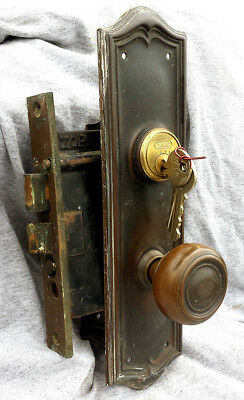 Antique Vintage Solid Brass Door Entry Exterior Lockset Knob Plate Lock Set Keys