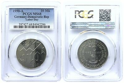 10 Mark 1990 Labor Day Democratic Republic East Germany Pcgs Ms68 Top Pop 2