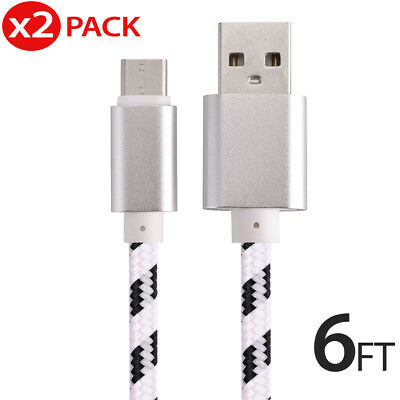 2x USB-C Type-C 3.1 6FT Nylon Braided Data Sync Charger Fast Charging Cable Cord