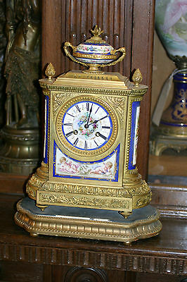 Antique French Gilded Bronze Sevres Mantel Clock, C.1880 Cherubs, Stunning