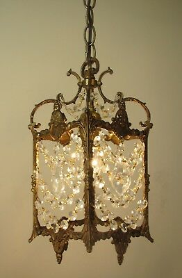 Vintage Ultra Petite Brass & Crystals Chandelier Hanging Light Lantern
