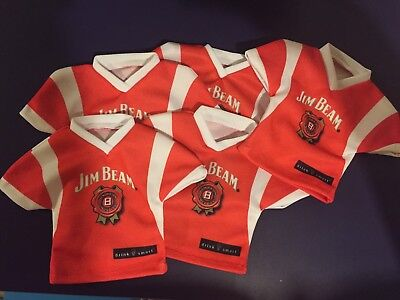 "lot/5 Jim Beam Promotional Bottle Jersey Cover-Red Shirt-""14"""