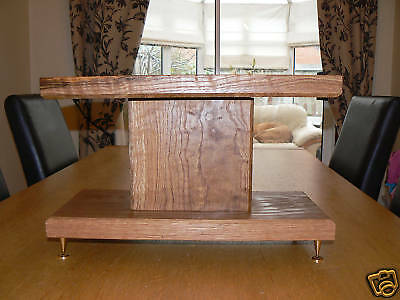 Solid Oak Centre Speaker Stand with Adjustable Feet