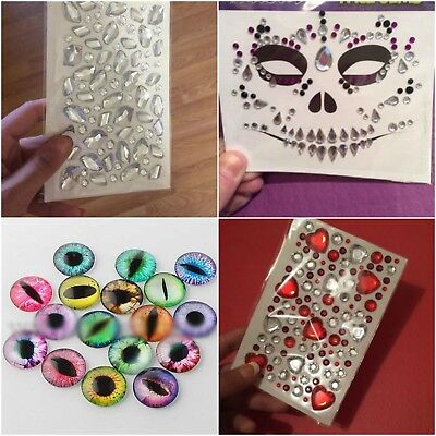 Halloween Carnival Crystal Face Paint Gem Body Art Jewel Stick on Glitter Tattoo