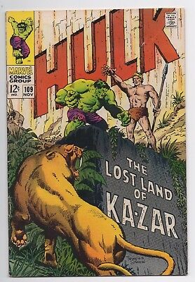 Marvel Comics The Incredible Hulk #109 Ka-Zar App Silver Age