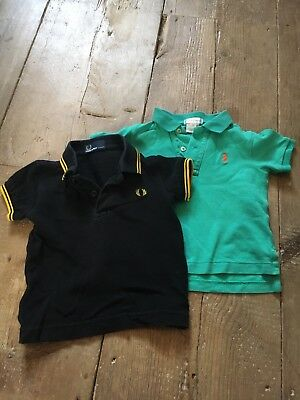Fred Perry and Ralph Lauren Baby Polo Shirts, Black And Green, 12 Months