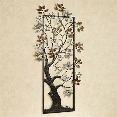 Tree Metal Wall Art Copper Bronze Platinum Metallic Finish Leaves With Blossoms
