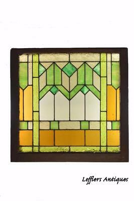 Arts & Crafts Stained Glass Window With Green And Amber Glass