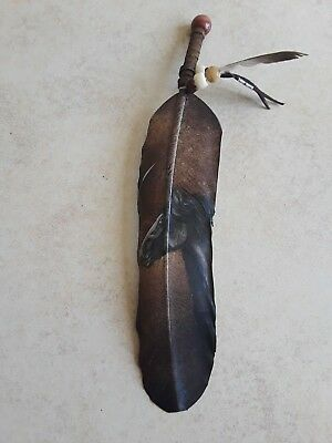 Hand painted feather , horse face , CRAFTS , Hunters , SOUTHWEST ART ,decor #4