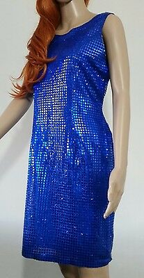 Vintage 1960s/70s Metallic Blue Sequin Party Dress Size Approx 10