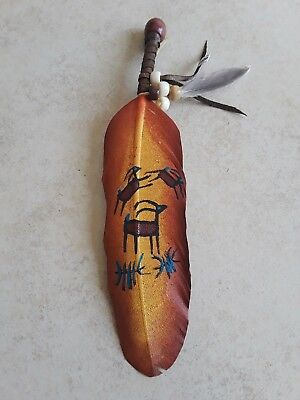 Hand painted feather , deer , CRAFTS , Hunters , SOUTHWEST ART ,decor #11