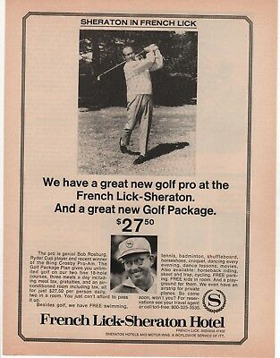 1970 - Sheraton Hotels - New Golf Pro- French Lick , In -Golf-Vintage Print Ad