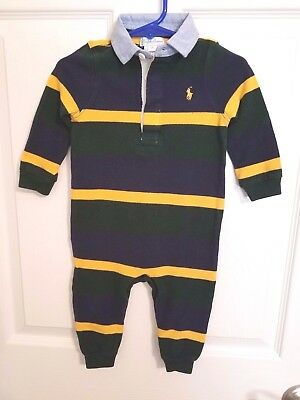 Ralph Lauren Baby Boy 9 Months One Piece Long Sleeve Polo Romper Ex Pre Owned!