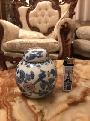 Vintage Chinese Blue,white,pink Flowers & Leaves Design Ginger Jar/pot